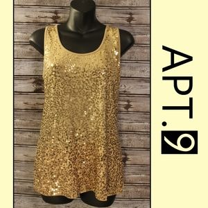 Gold Sequin Tank by APT 9